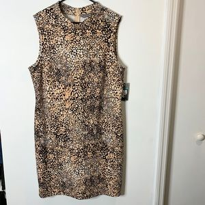 Sharagano leopard print sleeveless dress size 16